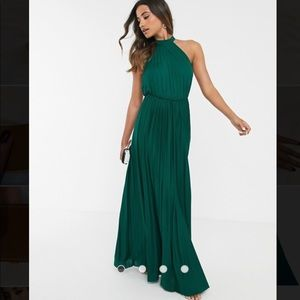 ASOS halter pleated waisted maxi dress in green